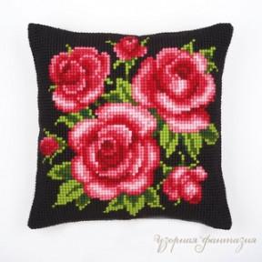 Набор для вышивки подушки Vervaco 1200/543 Красные розы на чёрном фоне