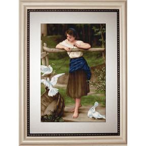 Набор для вышивки гобелена Luca-S G516 Девушка дразнящая голубей