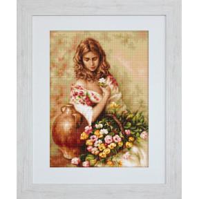 Набор для вышивки гобелена Luca-S G519 Девушка с цветами