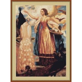 Набор для вышивки крестом Luca-S  Девушка кормящая павлинов B461