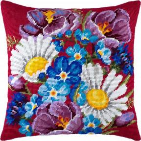 Набор для вышивки подушки Чарівниця V-137 Букет из полевых цветов