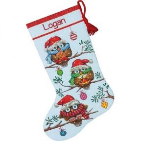 Набор для вышивания  Dimensions 70-08951 Holiday Hooties Stocking/Сапожок Рождественские совы