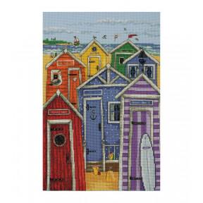 Набор для вышивания Anchor PCE766 Rainbow Beach Huts /Радужные пляжные домики