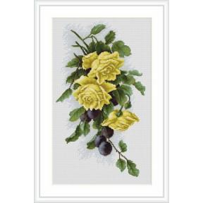 Набор для вышивки крестом Luca-S  Желтые розы со сливами B2230