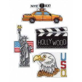 Набор для вышивки крестом МП Студия Р-307 США. Магниты