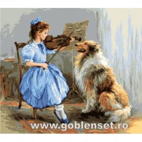 Набор для вышивания гобелен Goblenset G1086 Урок скрипки фото