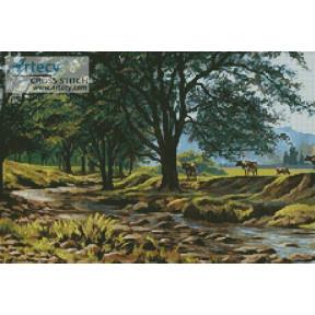 Набор для вышивания Kustom Krafts 20557 Коровы у ручья фото