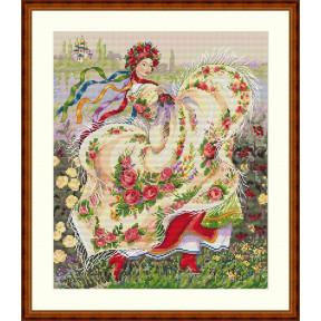 Набор для вышивания крестом Мережка Праздничный платок К-15 фото