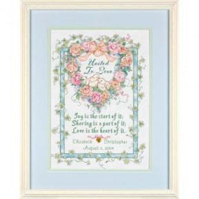 Набор для вышивки крестом Dimensions United in Love Wedding Record 35125