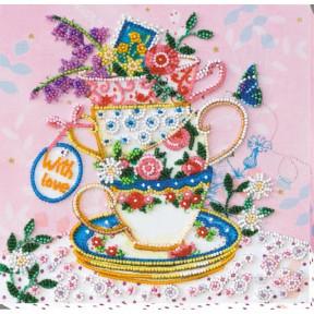 """Набор для вышивки бисером на холсте Абрис Арт """"За чашкой чая"""" АМВ-019"""