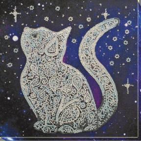 """Набор для вышивки бисером на холсте Абрис Арт """"Звездный кот"""" АМВ-052"""