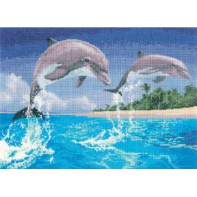 Набор для вышивания крестом Heritage Crafts Dolphins H1084