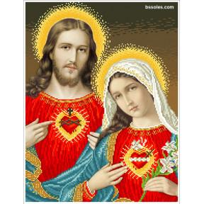 """Набор для вышивания бисером БС Солес """"Открытые сердца Иисуса и"""