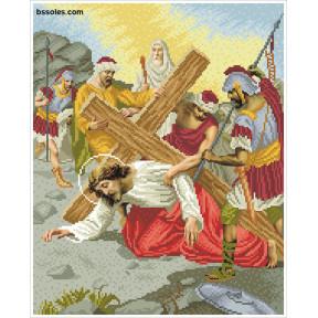 """Набор для вышивания бисером БС Солес """"Иисус второй раз падает"""