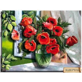 "Картина из бумаги Папертоль ""Маки на окне"" РТ150188 фото"