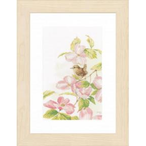 """Набор для вышивания Lanarte Pink flowers with a little bird """"Розовые цветы с маленькой птичкой"""" PN-0149990"""