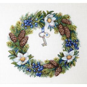 Набор для вышивания крестом Мережка  Венок Зимний К-104