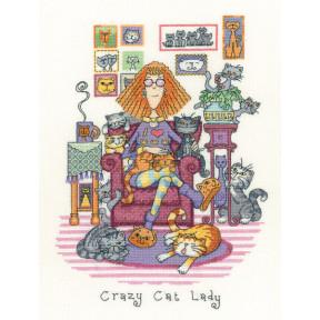 Набор для вышивания крестом Heritage Crafts Crazy Cat Lady H1229
