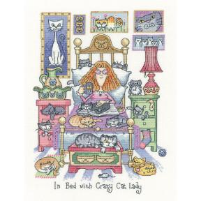 Набор для вышивания крестом Heritage Crafts Crazy In Bed with Crazy Cat Lady H1331