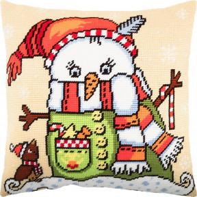 Набор для вышивки подушки Чарівниця Снеговик V-268