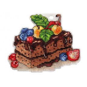 Набор для вышивки крестом Alisena Пироженко – Шоколадно-ягодный бисквит 8012а