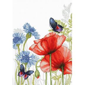 Набор для вышивки крестом Luca-S Маки и бабочки BU4018
