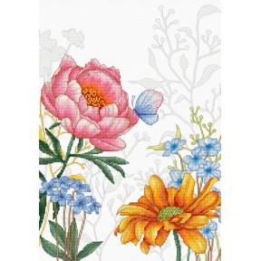 Набор для вышивки крестом Luca-S Цветы и бабочка BU4019