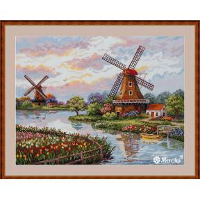 Набор для вышивания крестом Мережка Голландские ветряные мельницы  К-167