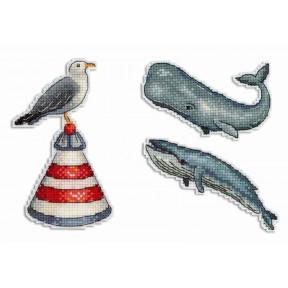 Набор для вышивки крестом МП Студия Шум океана. Магниты Р-330