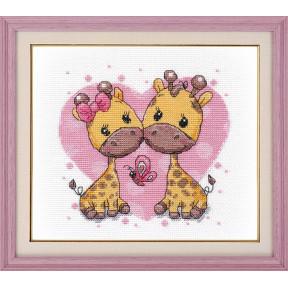 Набор для вышивки крестом Овен Влюбленные жирафики  1275о