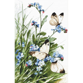 Набор для вышивания LETISTITCH Butterflies and bluebird flowers LETI 939