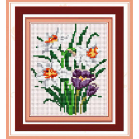 Набор для рисования камнями алмазная живопись Dream Art Весенний букет (квадратные, полная) 30392D
