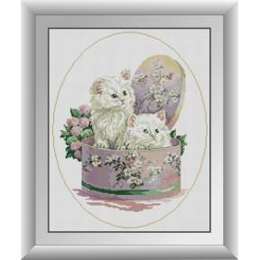 Набор для рисования камнями алмазная живопись Dream Art Подарок (котята) (квадратные, полная) 30394D