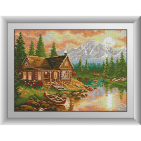 Набор для рисования камнями алмазная живопись Dream Art Вечер в горах (квадратные, полная) 30397D