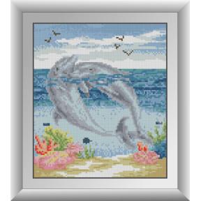 Набор для рисования камнями алмазная живопись Dream Art Пара дельфинов (квадратные, полная) 30718D