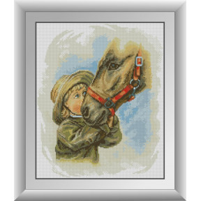 Набор для рисования камнями алмазная живопись Dream Art Мальчик с лошадью (квадратные, полная) 30720D