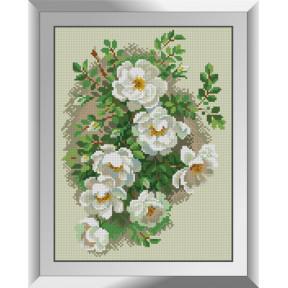 Набор для рисования камнями алмазная живопись Dream Art Белый шиповник (квадратные, полная) 31227D