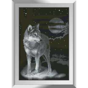 Набор для рисования камнями алмазная живопись Dream Art Ночной волк (квадратные, полная) 31232D