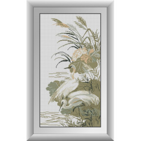 Набор для рисования камнями алмазная живопись Dream Art Белые цапли (квадратные, полная) 30972D