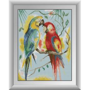 Набор для рисования камнями алмазная живопись Dream Art Попугаи Ара (квадратные, полная) 30976D