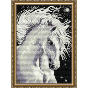 Набор для рисования камнями алмазная живопись ArtSolo Лошадь белая AT3016