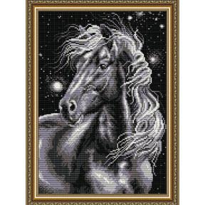 Набор для рисования камнями алмазная живопись ArtSolo Конь черный AT3017
