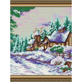 Набор для рисования камнями алмазная живопись ArtSolo Усадьба в зимнем лесу AT3020