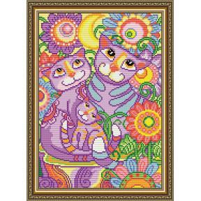 Набор для рисования камнями алмазная живопись ArtSolo Коты неразлучники AT3032
