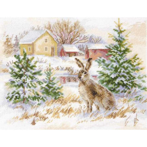 Набор для вышивки крестом Алиса Зимний день. Заяц-русак 1-31