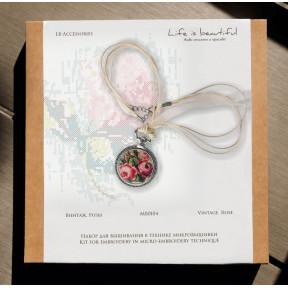"""Набор для создания украшения в технике микровышивки Lifeisbeautiful """"Кулон """"Винтаж. Розы"""" МВ0104"""