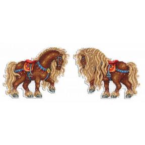 Набор для вышивки крестом МП Студия Богатырский конь Р-484
