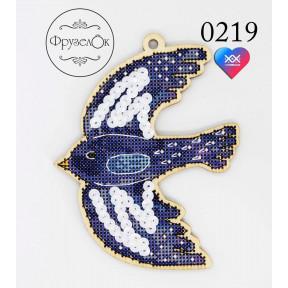"""Набор для вышивки крестом на деревянной основе ФрузелОк """"Синяя птица"""" 0219"""