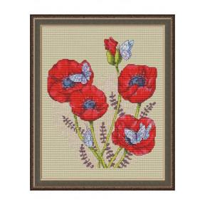 """Набор для вышивки крестом Dantel """"Красные маки и бабочки"""" 141"""