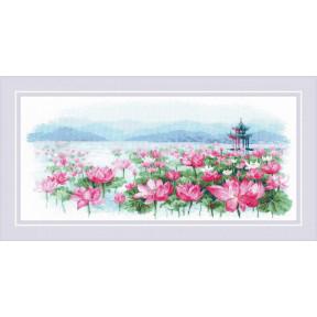 """Набор для вышивания крестом Риолис  """"Поле лотосов, Пагода на воде"""" 1869"""